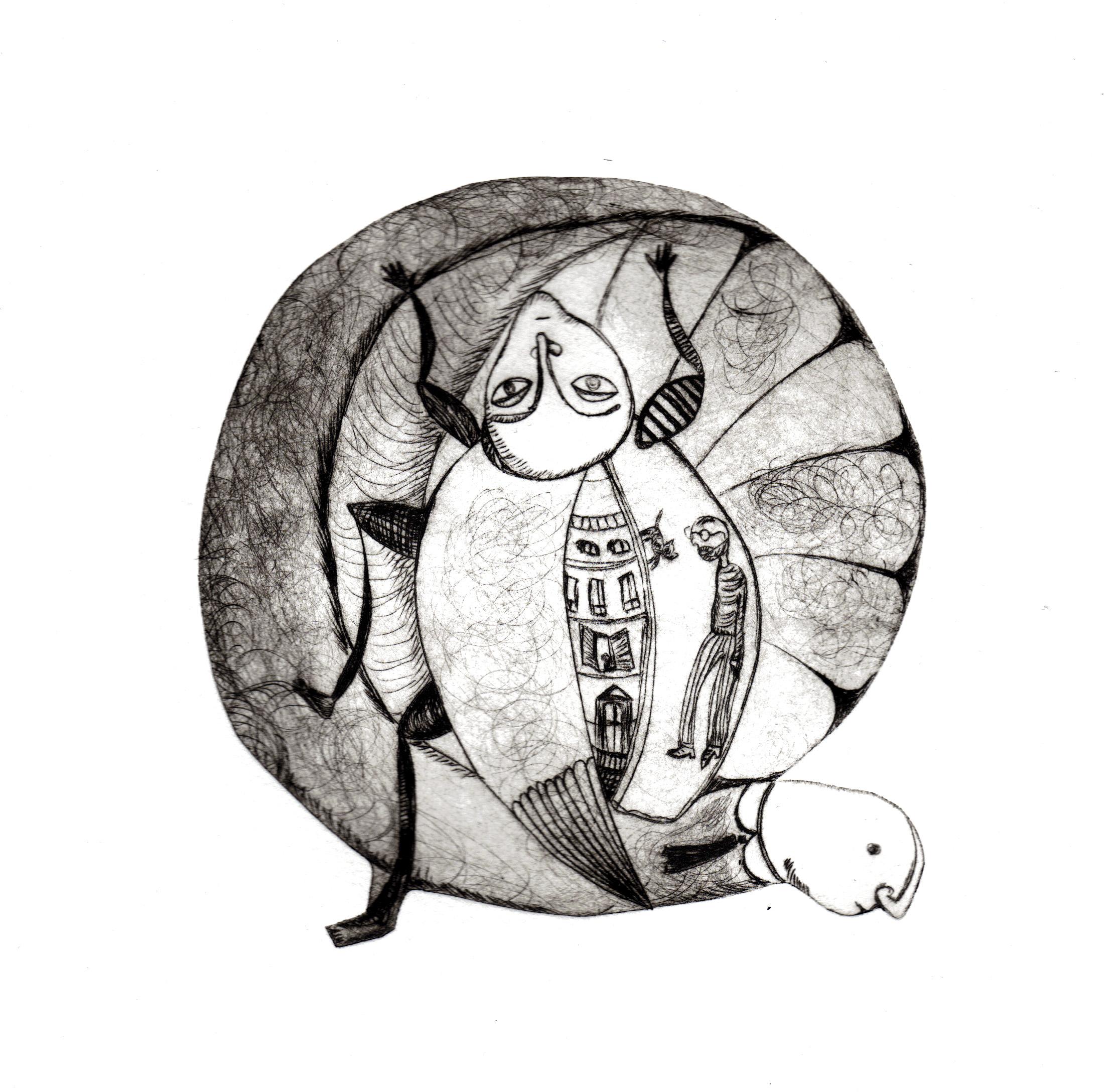 """""""l'homme au cafard"""" gravure-pointe sèche et techniques mixtes"""