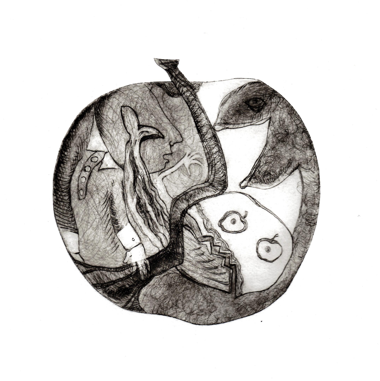 """""""l'homme à la pomme"""" gravure-pointe sèche et techniques mixtes"""