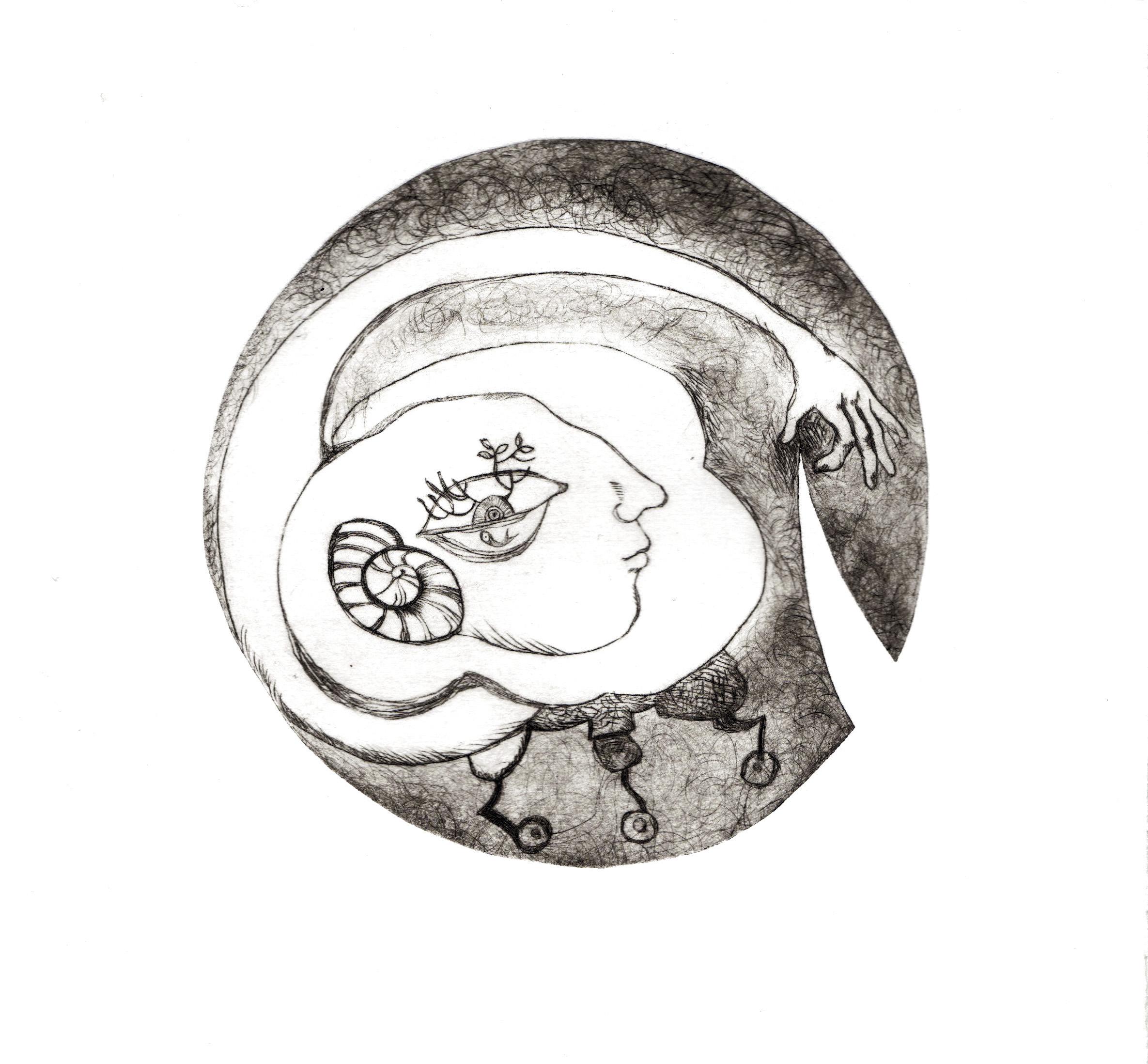 """""""l'homme dans le cercle"""" gravure-pointe sèche et techniques mixtes"""