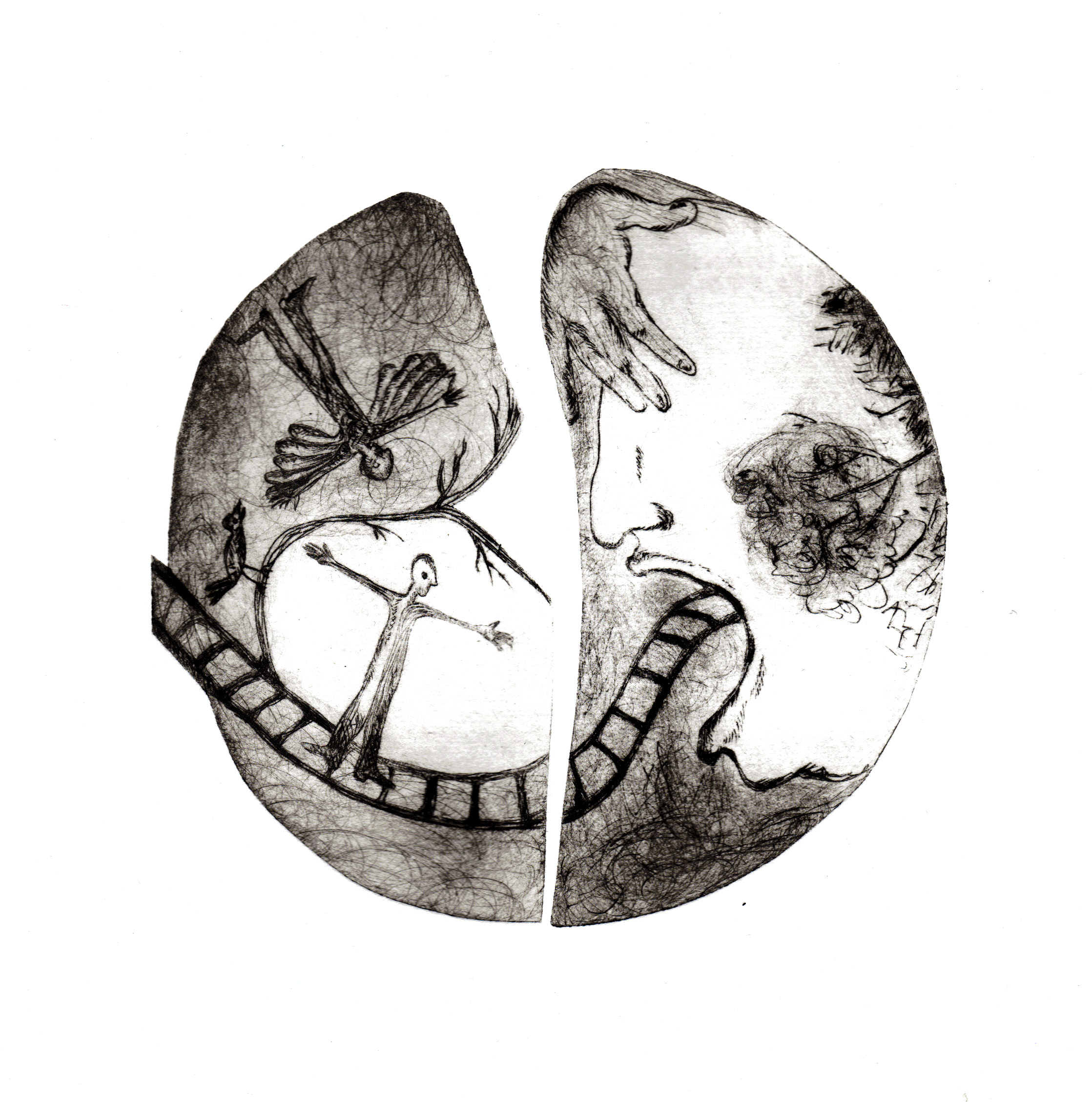 """""""l'homme au miroir"""" gravure-pointe sèche et techniques mixtes"""